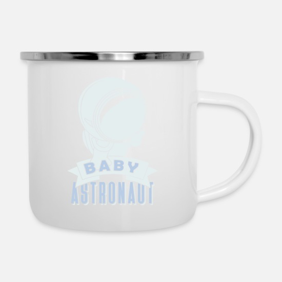 Space Mugs & Drinkware - Astronaut Space Rocket Weightless Planet - Enamel Mug white