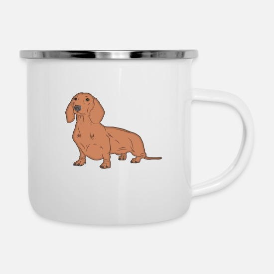 Dog Mugs & Drinkware - Sausage Dog Wiener Dog - Enamel Mug white
