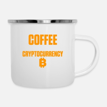 Up Start The Day With Coffee End With Cryptocurrency - Enamel Mug