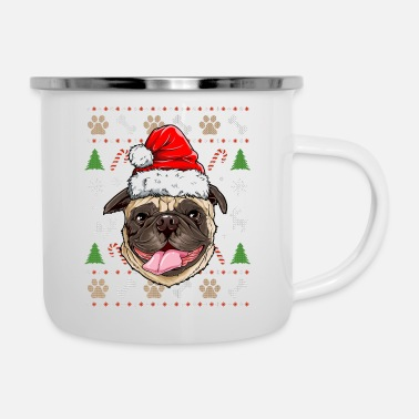 Candy Pug Ugly Christmas Shirt Santa Hat Pugmas Dog - Camper Mug