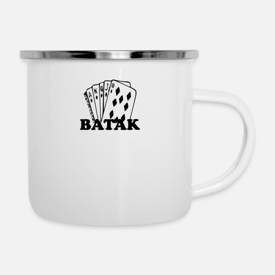 Birthday Mugs & Drinkware - Batak Turkish Cardgame - Enamel Mug white