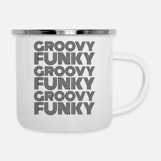 Groovy Funky Disco Black Font Camper Mug - white