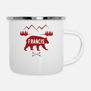Birth Name Francis Name Bear Forest Mountain Silhouette - Enamel Mug