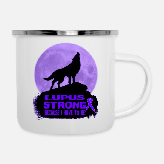Awareness Mugs & Drinkware - Lupus Awareness T-shirt - Enamel Mug white