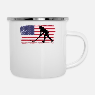 United Field Hockey design USA American Flag design - Enamel Mug