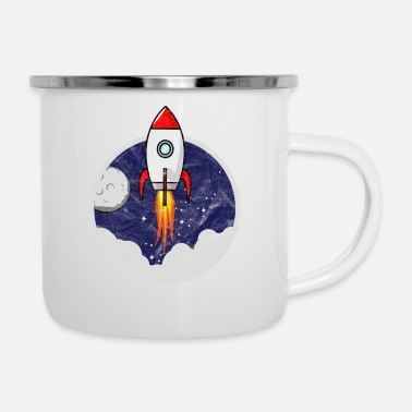 Scifi Space Shuttle Little Rocket for Kids Grunge - Enamel Mug