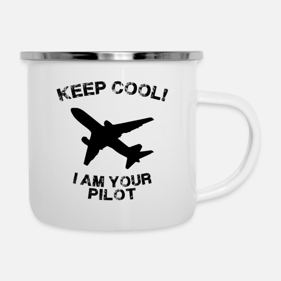 Pilot Mugs & Drinkware - Pilot air plane flyers dji army air force gift - Enamel Mug white