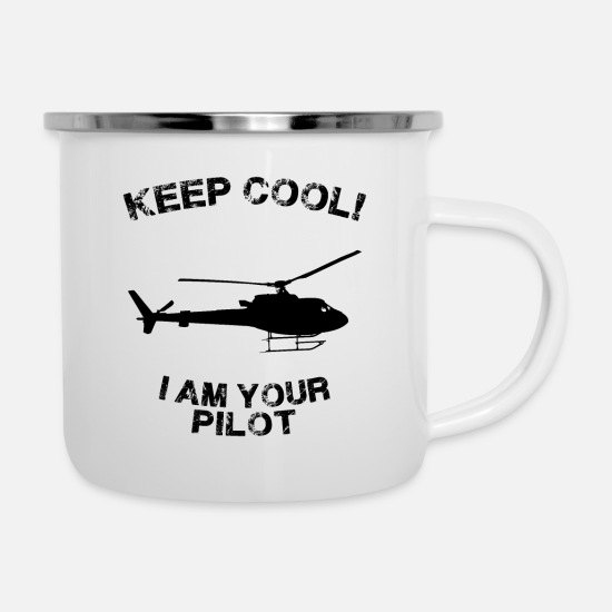 Pilot Mugs & Drinkware - Pilot helicopter flyers dji army air force gift - Enamel Mug white