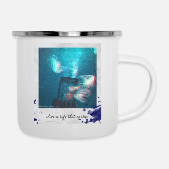 Polaroid Mugs & Drinkware - Polaroid Jellyfish Mason Jar - Enamel Mug white