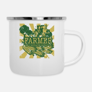 Distracted Tractors Farmer Easily Distracted By Tractors - Enamel Mug
