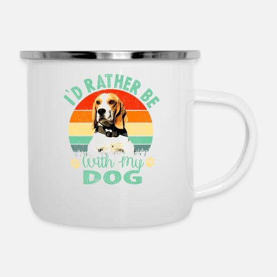 Rather Mugs & Drinkware - I'd Rather be with my Dog Beagle Design - Enamel Mug white