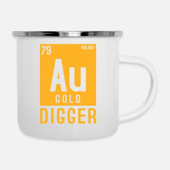 Gold Mugs & Drinkware - Gold Au Periodic Table Elements - Enamel Mug white