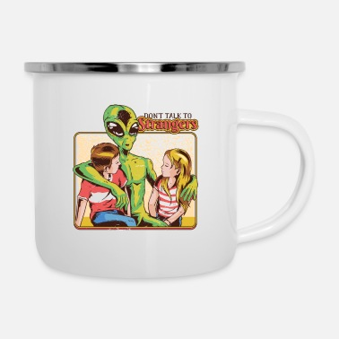 Book Don't Talk to Strangers, Funny Alien talking to - Enamel Mug