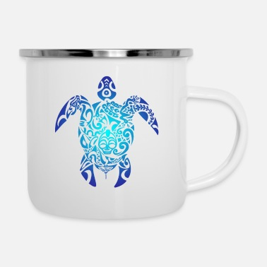 Sea Tribal Sea Turtle Ocean Blue Hawaii Polynesian - Enamel Mug