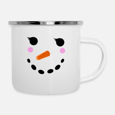 Winter Snowman Winter Snow - Christmas Girl - Enamel Mug