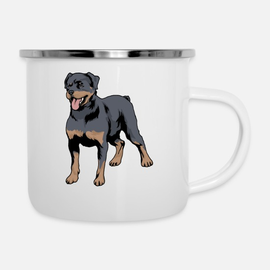 Rottweiler Mugs & Drinkware - Rottweiler Dog Breed - Enamel Mug white