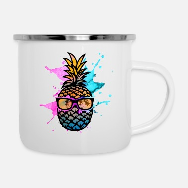 Color Pineapple with sunglasses - Enamel Mug