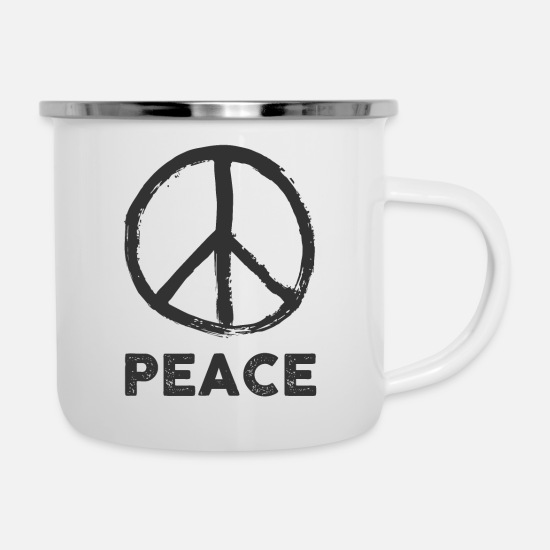 Woodstock Mugs & Drinkware - Flower Power Womens Hippie 70s 60s graphic for - Enamel Mug white
