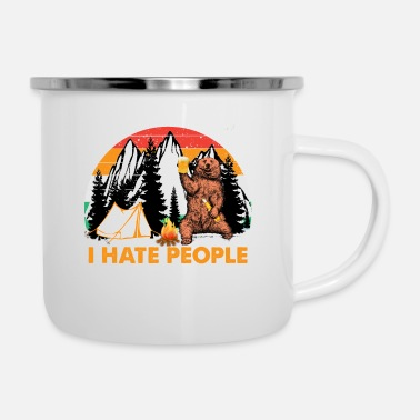 Camping i hate people Bear Drinking Beer Camping Hiking - Enamel Mug