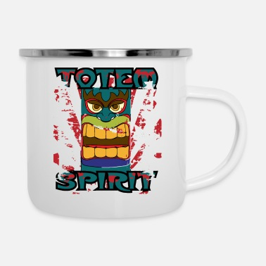 Totem Pole Totem Pole - Totem Spirit - Indian Religion - Enamel Mug