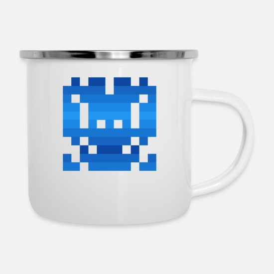 Art Mugs & Drinkware - Invader from Space: 11-bit, long, normal wide UFO - Enamel Mug white