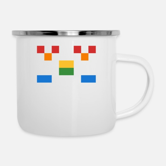 Art Mugs & Drinkware - Invader from Space: 8-bit, normal length, wide UFO - Enamel Mug white