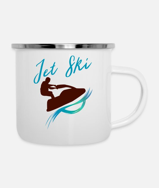 Wave Mugs & Cups - Jet ski ocean motor sports with colorful wave - Enamel Mug white