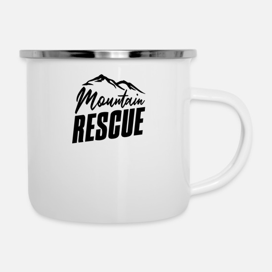 Team Mugs & Drinkware - Team MoUNTain Rescue Patrol Rescuing Ski Rescue - Enamel Mug white