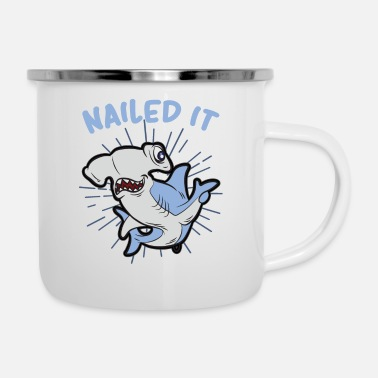 Cartoon Shark NAILED IT funny hammerhead shark Humor - Enamel Mug