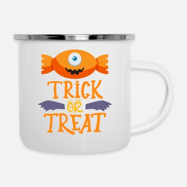 Trick Or Treat Candy Trick or Treat Funny Cute Halloween Candy bo - Enamel Mug