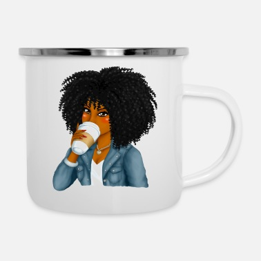 Girls Black Latte Girl - Enamel Mug