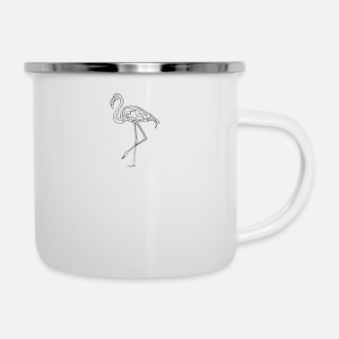 Drawing Flamingo - One Line Drawing - Enamel Mug
