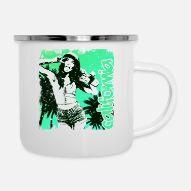 Los Angeles California Girl Green Vintage - Enamel Mug