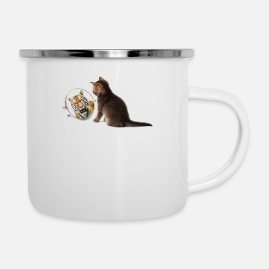 Caterpillar cat tiger 02psd - Enamel Mug