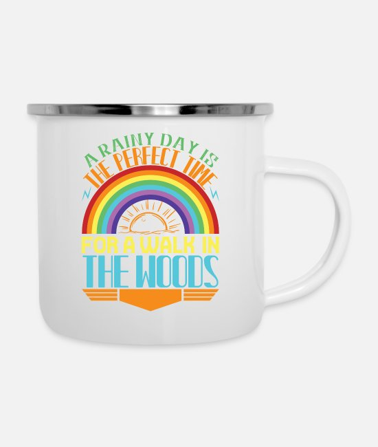Weather Mugs & Cups - Rainbow-A rainy day is the perfect time for a walk - Enamel Mug white