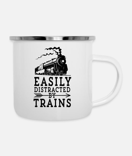 Locomotive Mugs & Cups - Steam Engine Locmotive Gift Easily Distracted By - Enamel Mug white
