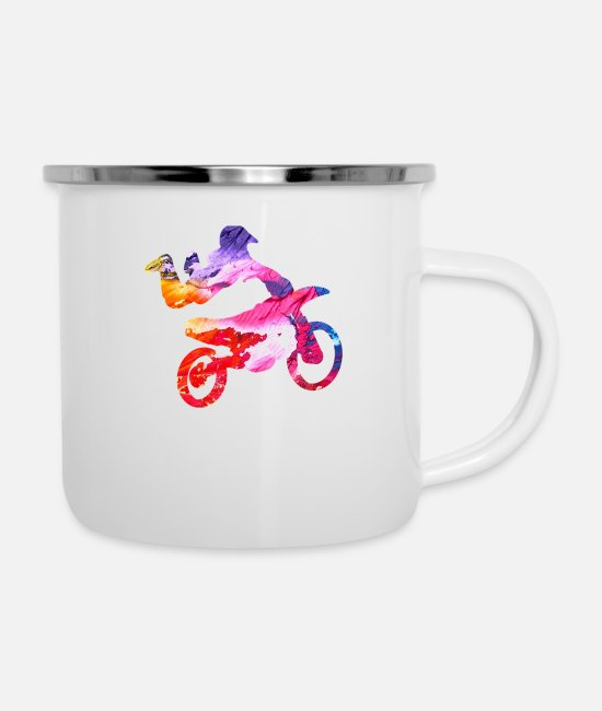 Motorcycle Mugs & Drinkware - Motocross gift for Biker - Enamel Mug white