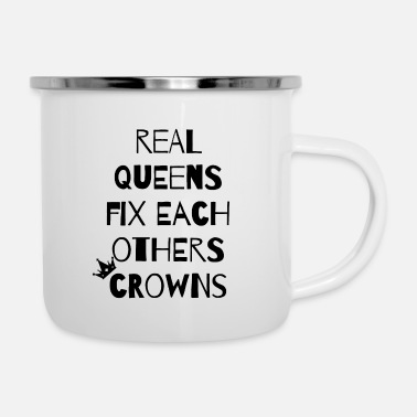 Lifting Real Queens Fix Each Others Crowns - Enamel Mug