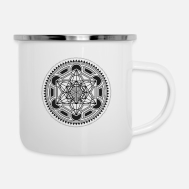 Cube METATRONS CUBE sacred geometry flower of life yoga - Enamel Mug