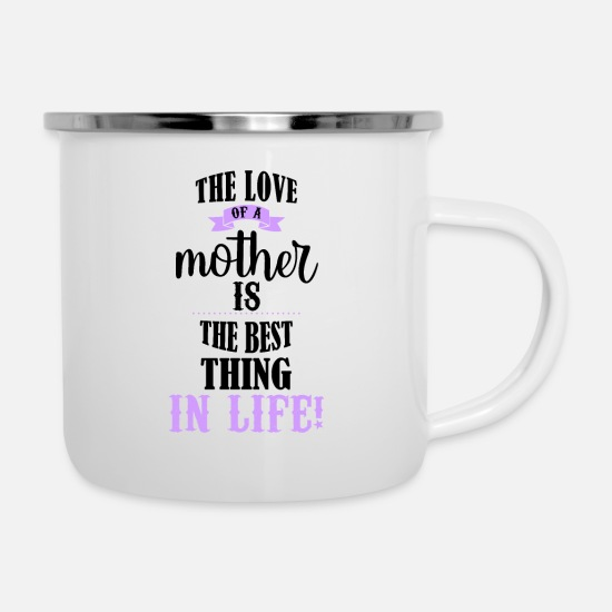 Love Mugs & Drinkware - Motherly Love - Cute Saying for Mother's Day - Enamel Mug white