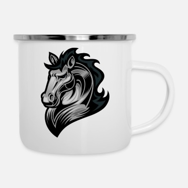 Emblem Logo horse head animal wildlife cool vector image - Enamel Mug