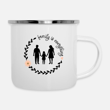 Silhouette Mom Dad Daugter Silhouette, Family is Everything - Enamel Mug
