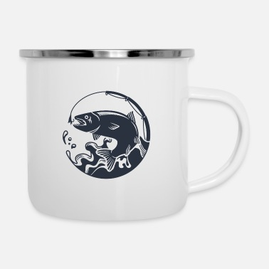 Fish Bone Jumping Fish Angler Badge Symbol Icon Hook - Enamel Mug