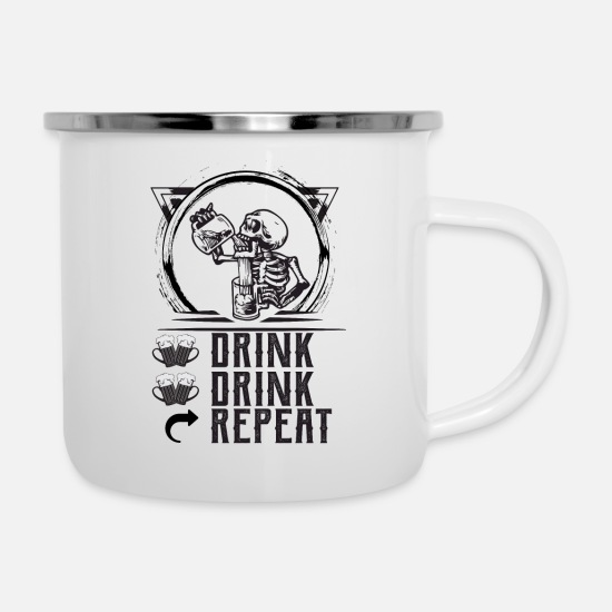 Drinking Mugs & Drinkware - DRINK DRINK REPEAT - Enamel Mug white