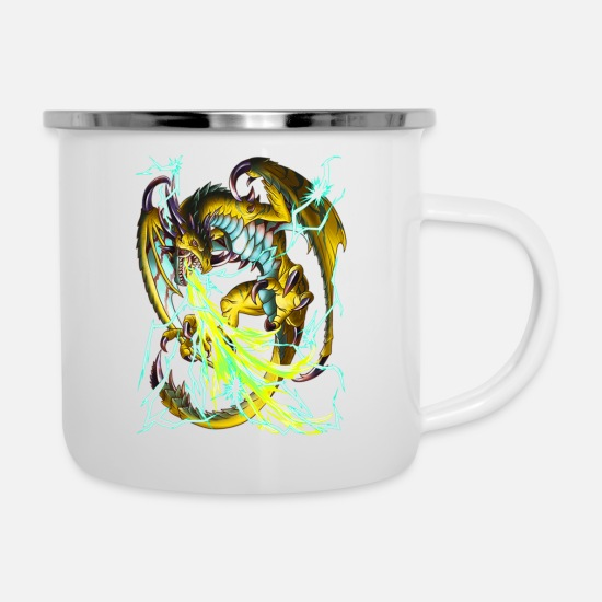 Lightning Mugs & Drinkware - LIGHTNING DRAGON - Enamel Mug white