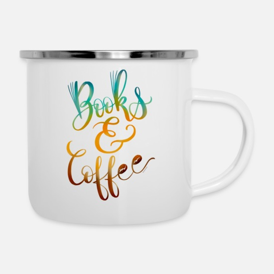 Coffee Mugs & Drinkware - Books Coffee Hand Lettered Design - Enamel Mug white