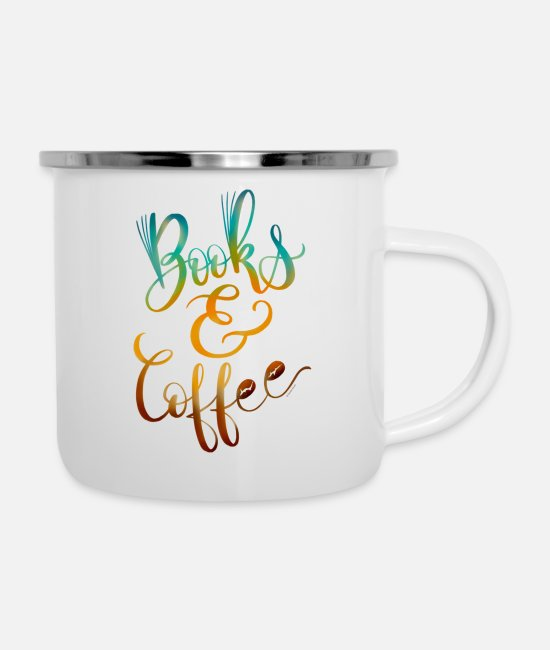 Collections Mugs & Drinkware - Books Coffee Hand Lettered Design - Enamel Mug white