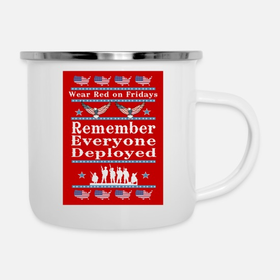 Usa Mugs & Drinkware - Wear Red on Fridays Support Our Troops - Enamel Mug white