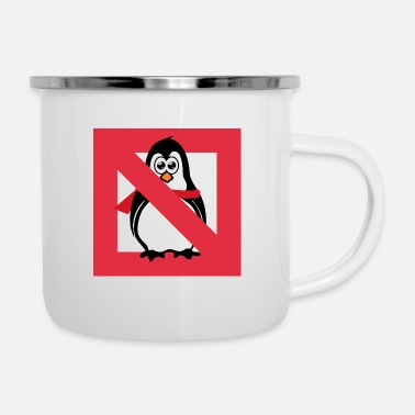 Prohibited Penguin prohibition sign - Enamel Mug