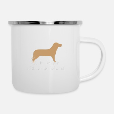 Four-legged life is better with a dachshund - Enamel Mug